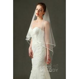 Romantic One-tier Ribbon Edge Tulle Ivory 200*150cm Hip Veils AV160015