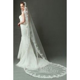 Queenly One-tier Lace Edge Tulle Ivory 300*150cm Chapel Veils with Appliques AV160027