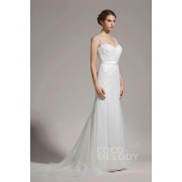New Arrival Sheath-Column V-Neck Tulle Ivory Sleeveless Wedding Dress with Beading AWZT15002