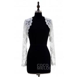 Gorgeous Ivory Lace Long Sleeve Wedding Jacket CX0015008
