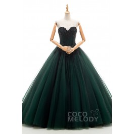 Unique A-Line Sweetheart Natural Chapel Train Tulle Jolly Green Sleeveless Lace Up-Corset Wedding Dress Appliques Beading JWLT16002