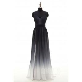 Sheath-Column Spaghetti Strap Natural Floor Length Chiffon Black Sleeveless Backless Bridesmaid Dress Pleating PR3268