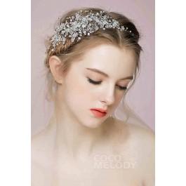 Charming White Alloy Wedding Headpiece with Rhinestone and Crystal SAH160001