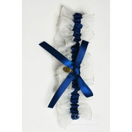 Gorgeous Satin Blue Glow Wedding Garter with Bowknot SWD15010