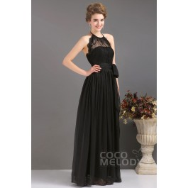 Sweet Sheath-Column Halter Floor Length Chiffon Black Evening Dress COUF13007