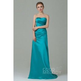 Queenly Sheath-Column Strapless Natural Floor Length Satin Sleeveless Lace Up-Corset Bridesmaid Dress with Pleating COZF15010