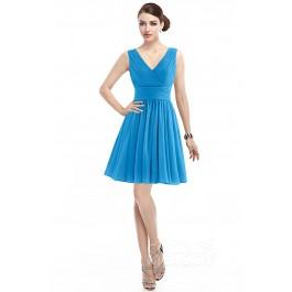 Casual A-Line V-Neck Natural Short Mini Chiffon Sleeveless Zipper Bridesmaid Dress COZK14019