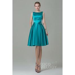 Pretty A-Line Bateau Natural Knee Length Satin Sleeveless Zipper Bridesmaid Dress with Flower COZK1500B