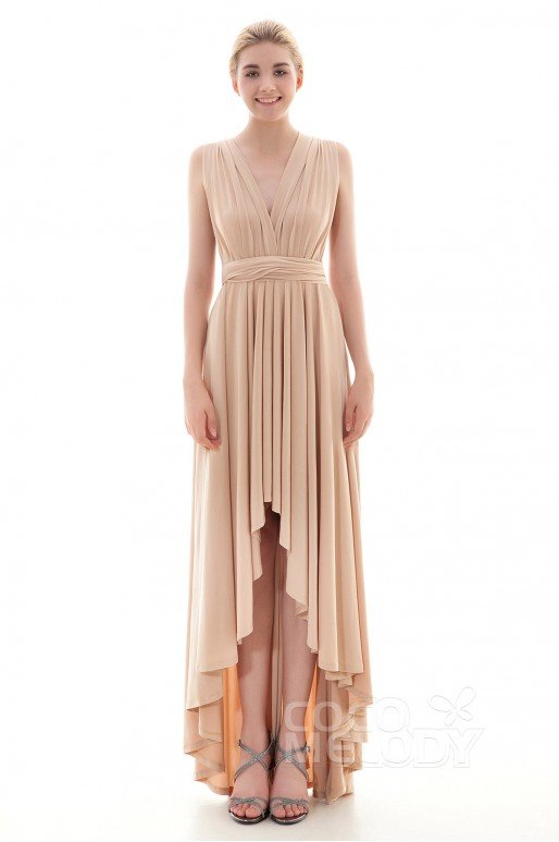 Timeless Asymmetrical Natural High-Low Knitted Fabric Sleeveless Convertible Bridesmaid Dress Draped COED16001
