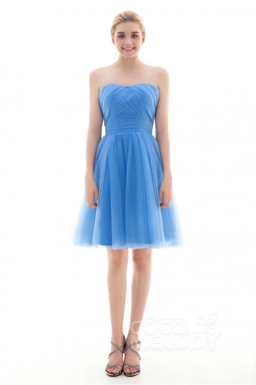 New Design A-Line Natural Short-Mini Tulle Capri Sleeveless Lace Up-Corset Convertible Bridesmaid Dress COLM16001