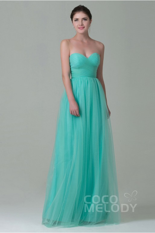 Luxurious Sheath-Column Sweetheart Natural Floor Length Tulle Sleeveless Zipper Bridesmaid Dress with Pleating COZF1500E