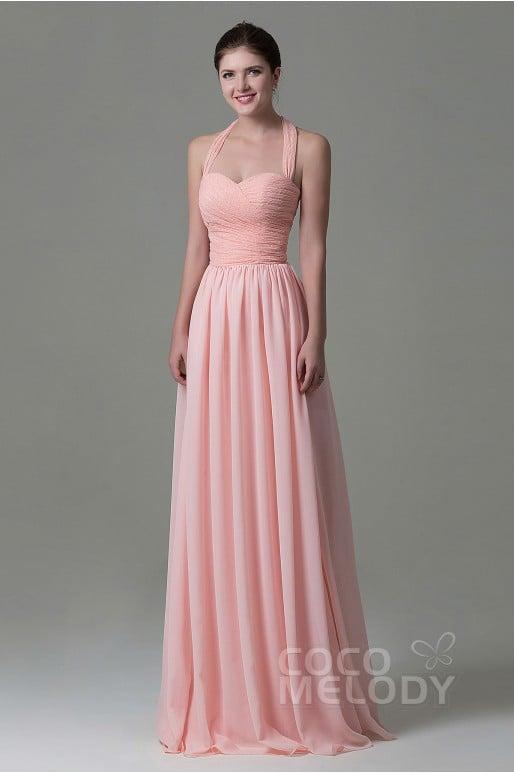 Pretty Sheath-Column Halter Natural Floor Length Lace/Chiffon Pink Sleeveless Lace Up-Corset Bridesmaid Dress COZK16006