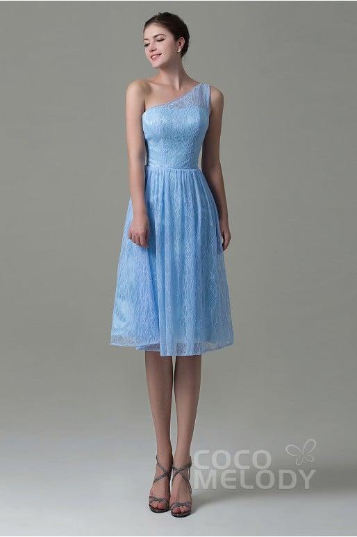 Fancy One Shoulder Natural Knee Length Lace Capri Sleeveless Lace Up-Corset Bridesmaid Dress COZK16009