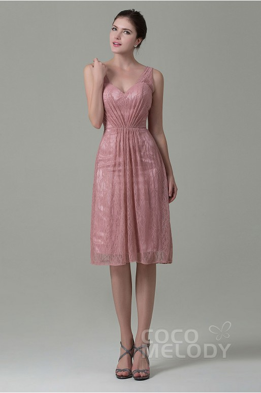 New Style Sheath-Column V-Neck Natural Knee Length Lace Veiled Rose Sleeveless Zipper Bridesmaid Dress with Pleating COZK16010