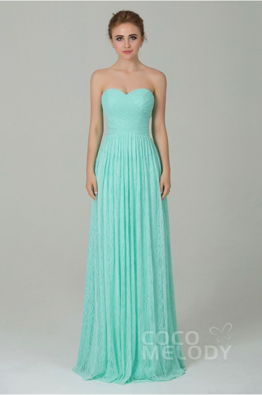 Fantastic Sheath-Column Sweetheart Natural Floor Length Lace Sleeveless Lace Up-Corset Bridesmaid Dress COZK16013