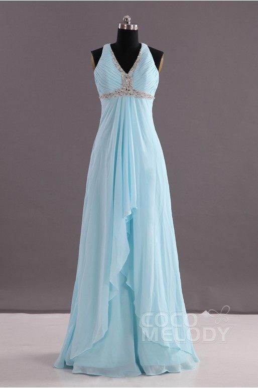 Sheath-Column V-Neck Empire Floor Length Chiffon Blue Glow Sleeveless Criss-Cross Evening Dress Pleating Beading COEF14001