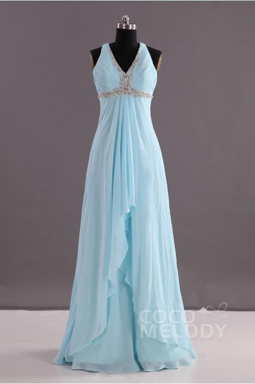 Sheath-Column V-Neck Empire Floor Length Chiffon Blue Glow Sleeveless Criss-Cross Evening Dress Pleating Beading COEF14001