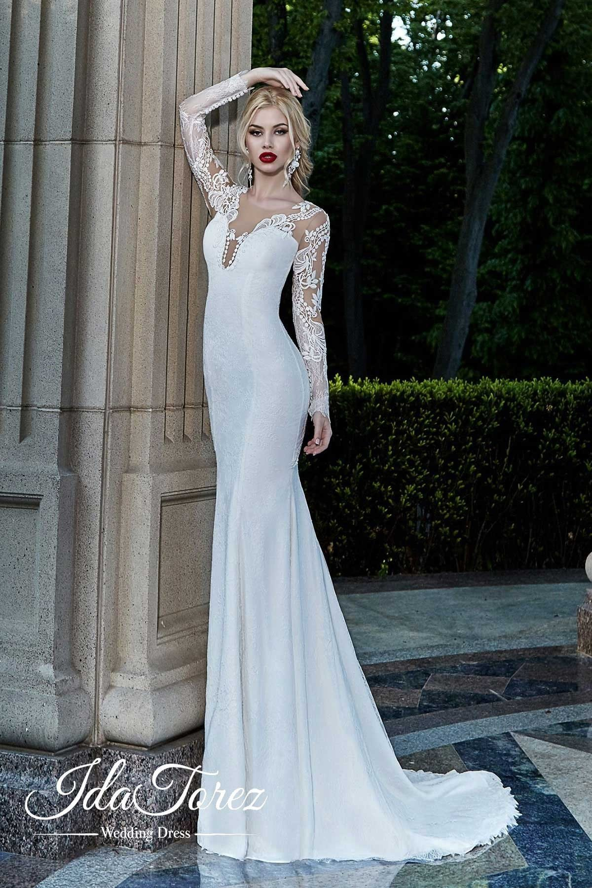 Romantic Trumpet-Mermaid V-Neck Natural Court Train Stretch Satin Ivory Long Sleeve Buttons Wedding Dress Draped Removable Tulle Train 01001