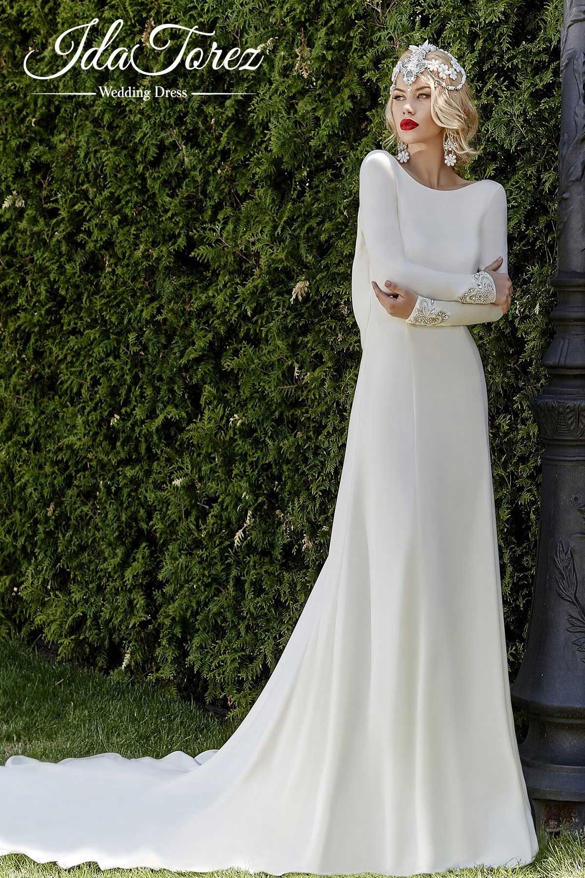 Cocomelody: Sheath-Column Court Train Stretch Crepe Wedding Dress ...