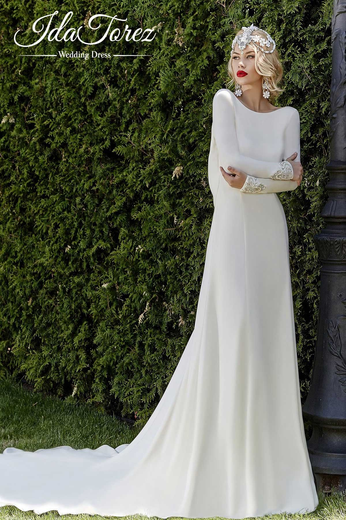 Sheath column court train stretch crepe wedding dress draped 01010 pretty sheath column bateau natural court train stretch crepe ivory long sleeve open back wedding dress draped 01010 junglespirit