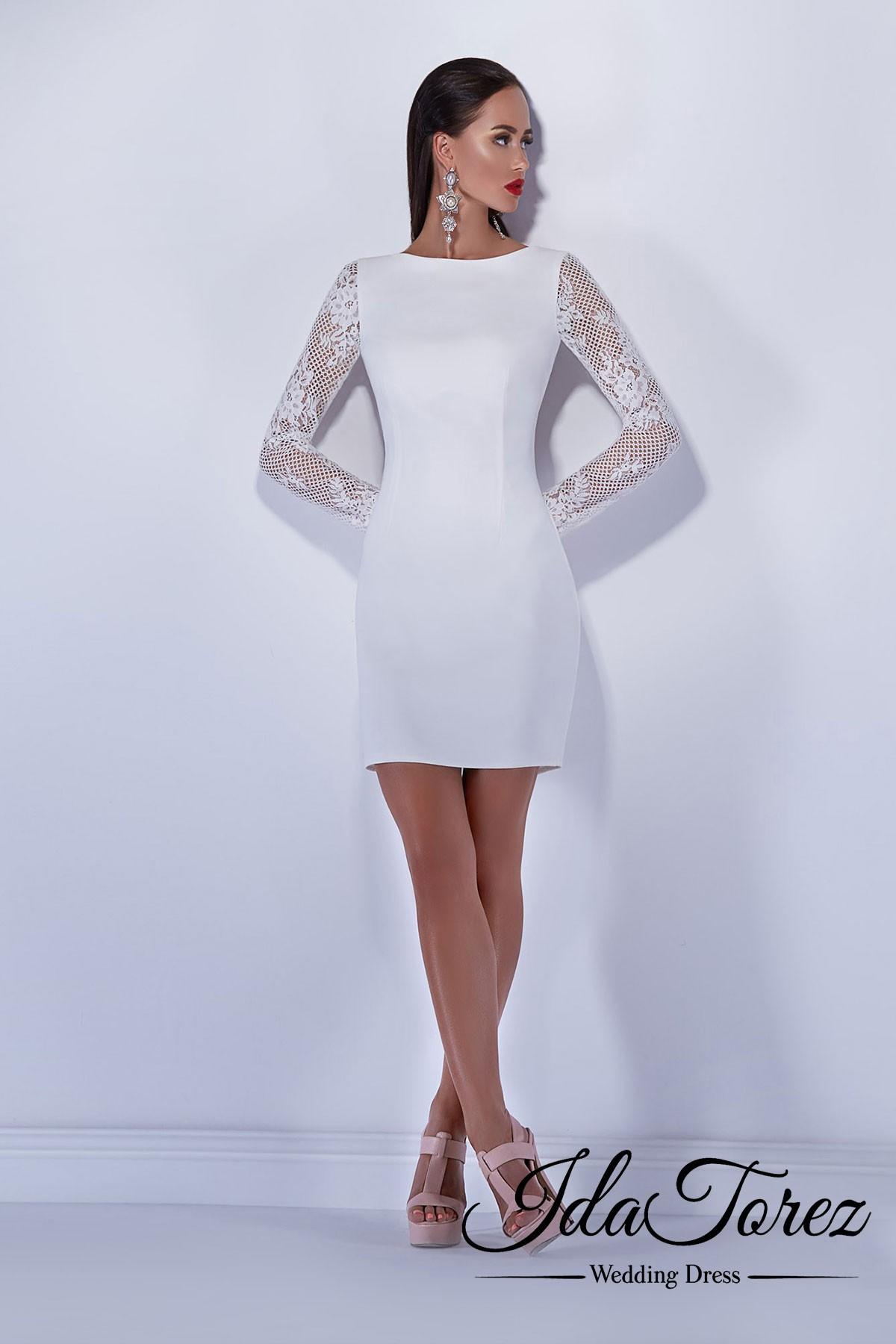Unique Sheath-Column Bateau Natural Short-Mini Satin Ivory Long Sleeve Buttons Wedding Dress 01037