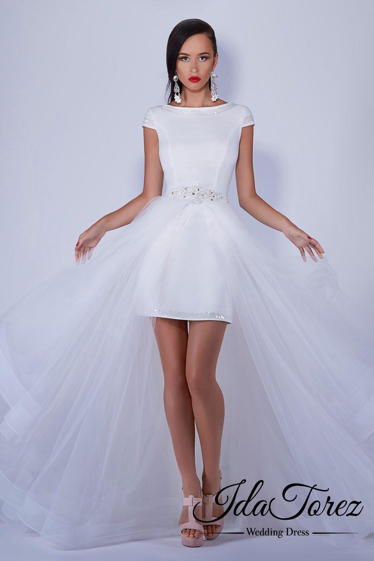 Cocomelody: Sheath-Column Short-Mini Tulle Wedding Dress Removable ...