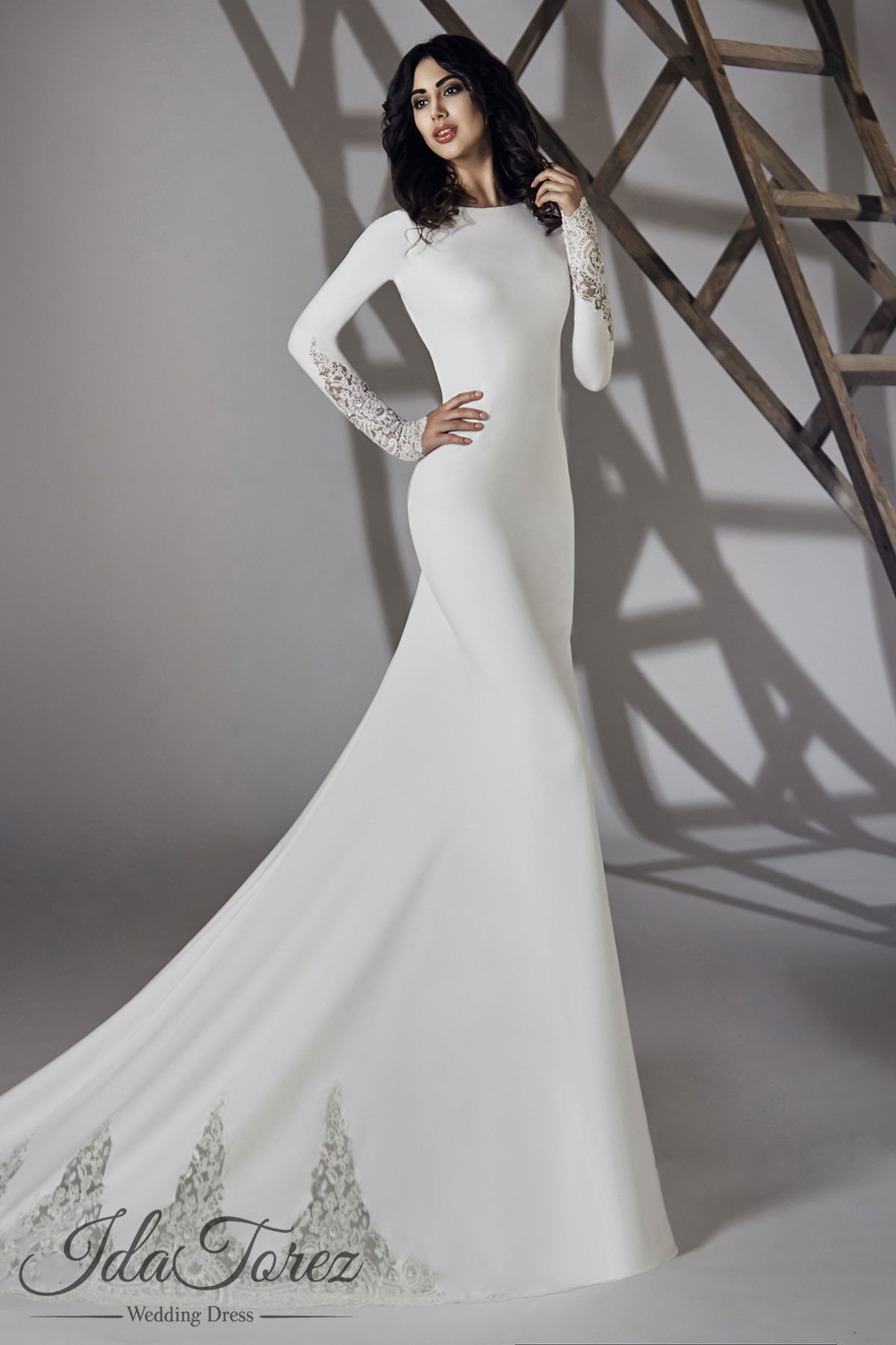 Cocomelody trumpet mermaid court train stretch crepe wedding dress modest trumpet mermaid bateau natural court train stretch crepe ivory long sleeve open back wedding dress 01064 junglespirit