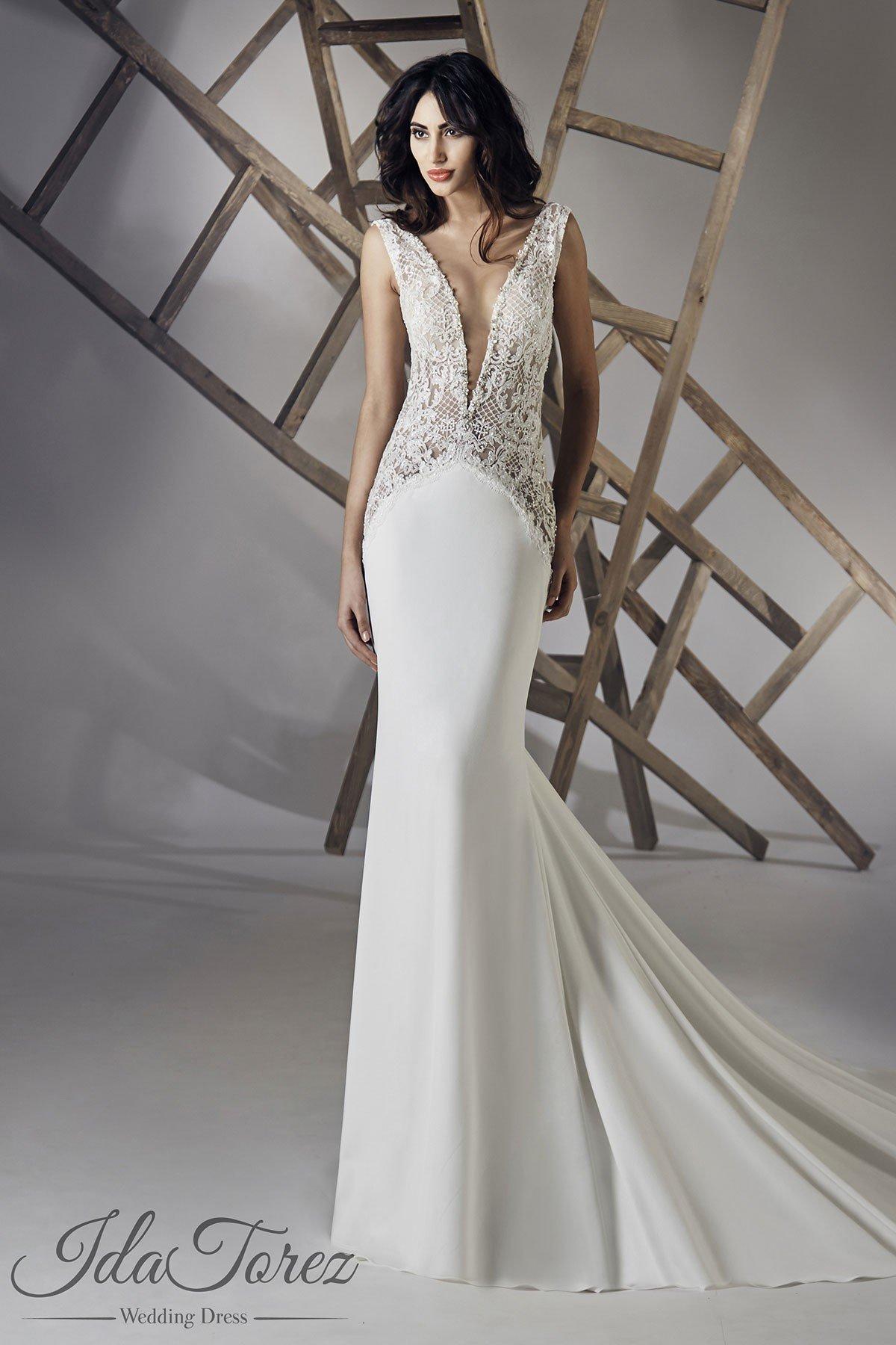 Luxurious Trumpet-Mermaid V-Neck Natural Chapel Train Stretch Crepe Ivory Sleeveless Open Back Wedding Dress Beading 01073