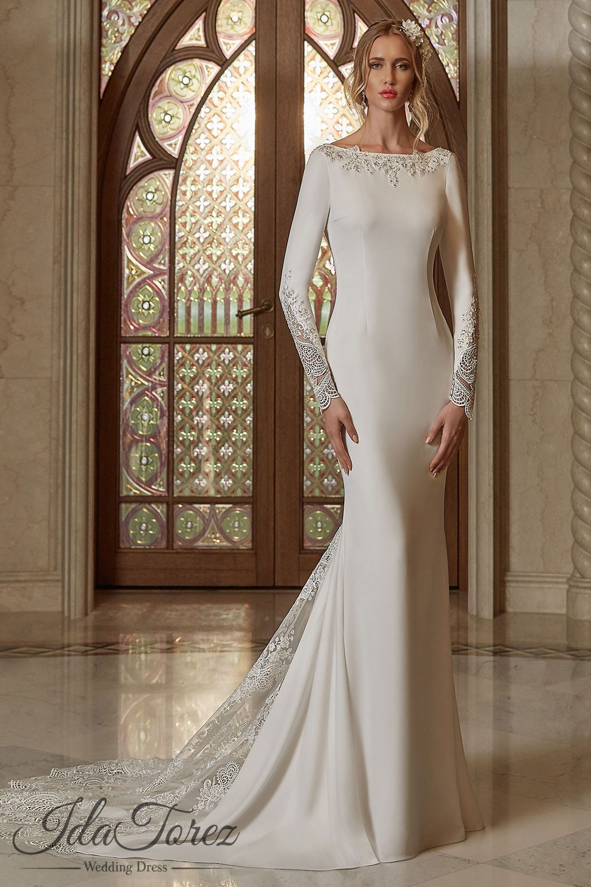 Queenly Trumpet Mermaid Bateau Natural Court Train Stretch Crepe Ivory Long Sleeve Open Back Wedding Dress Liques Beading 08006