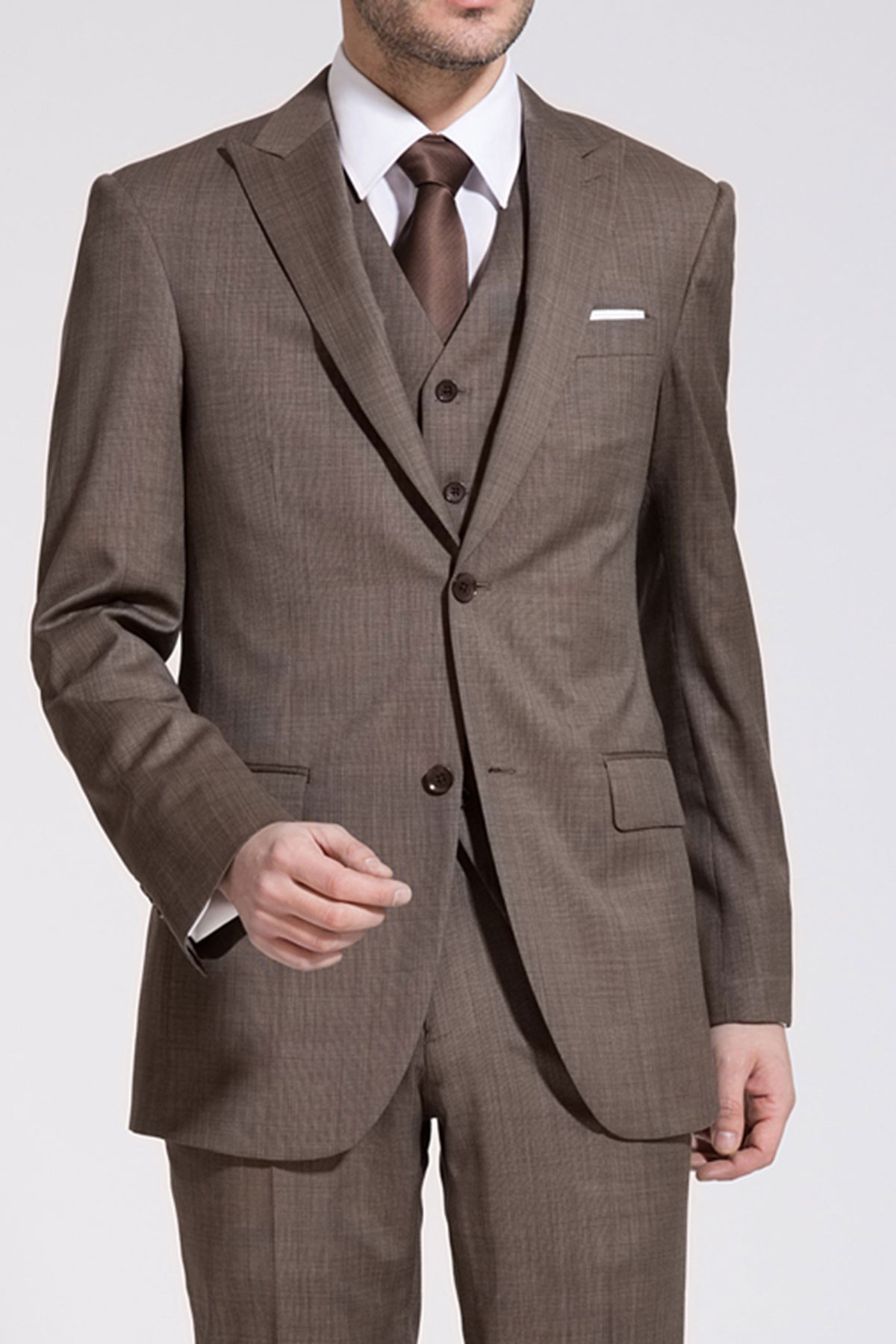 Dark Champagne Bone Brown Wool Two-Piece Suit ID-179