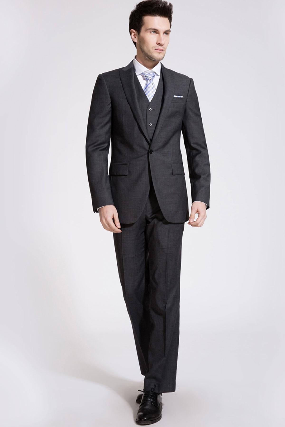 Deep Flint Gray Two-Piece Suit ID-196