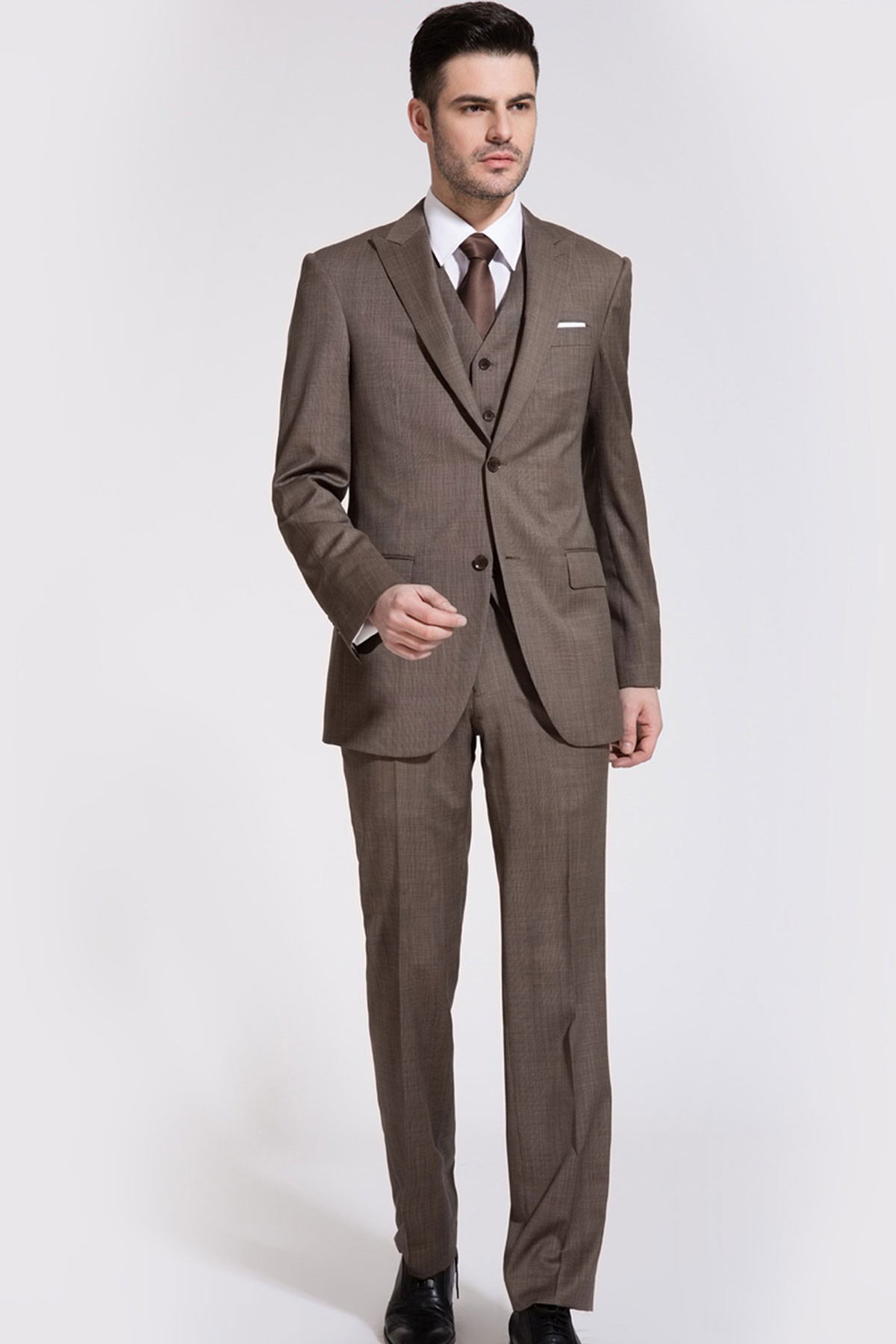 Dark Champagne Bone Brown Wool Three-piece Suit ID-59