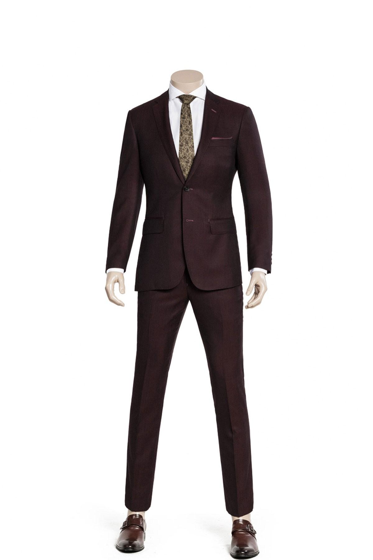 Black-Fiery Red Two-piece Suit ID-983