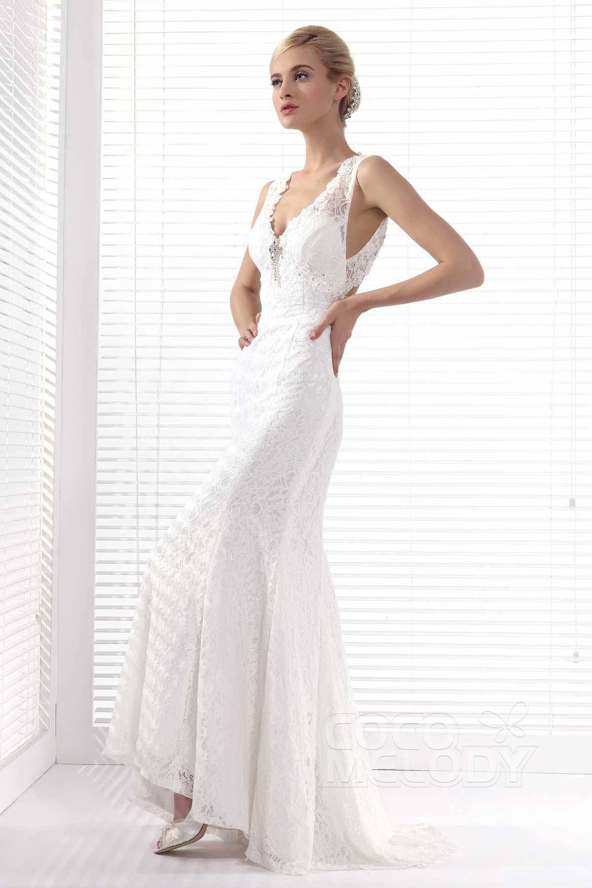 Modern V Neck Wedding Dress : Modern sheath column v neck sweep brush train lace wedding