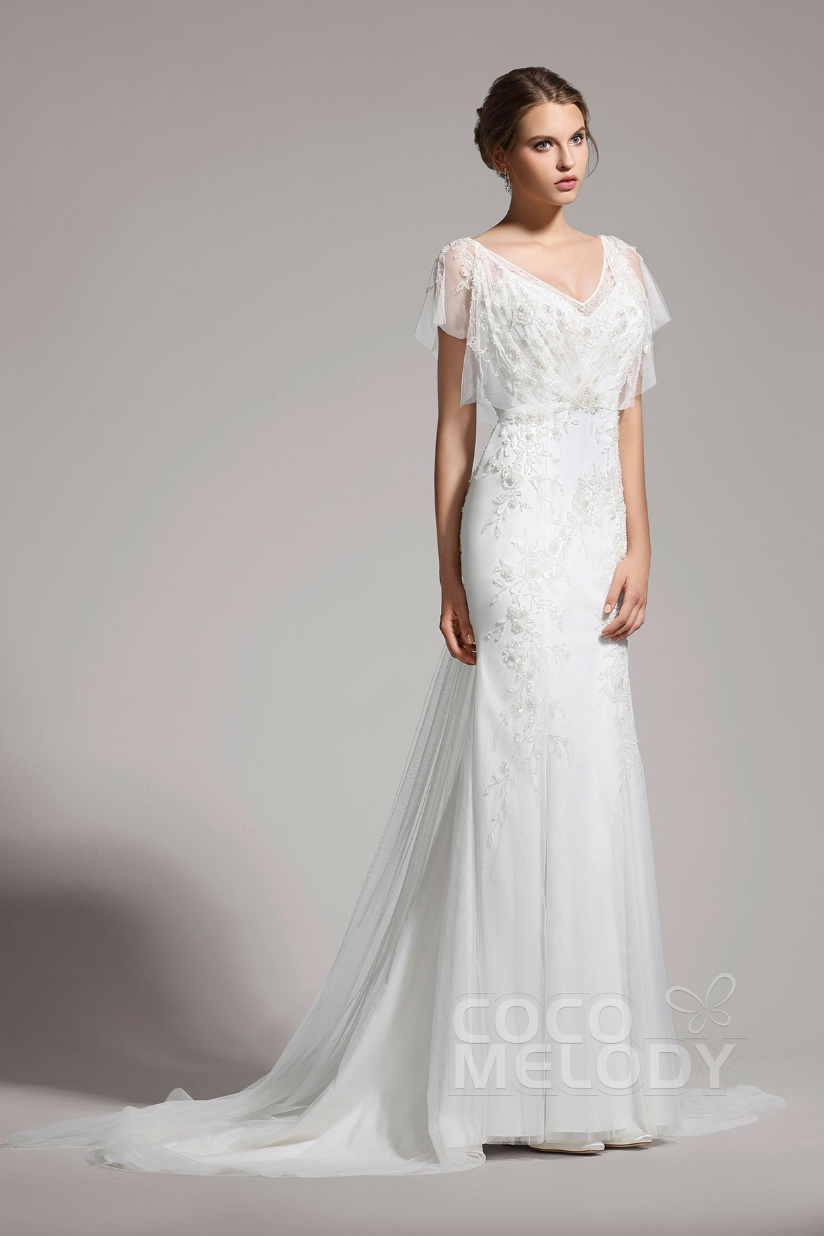 Delicate Trumpet Mermaid V Neck Tulle Ivory Cap Sleeve Wedding Dress With Beading Awvt15001