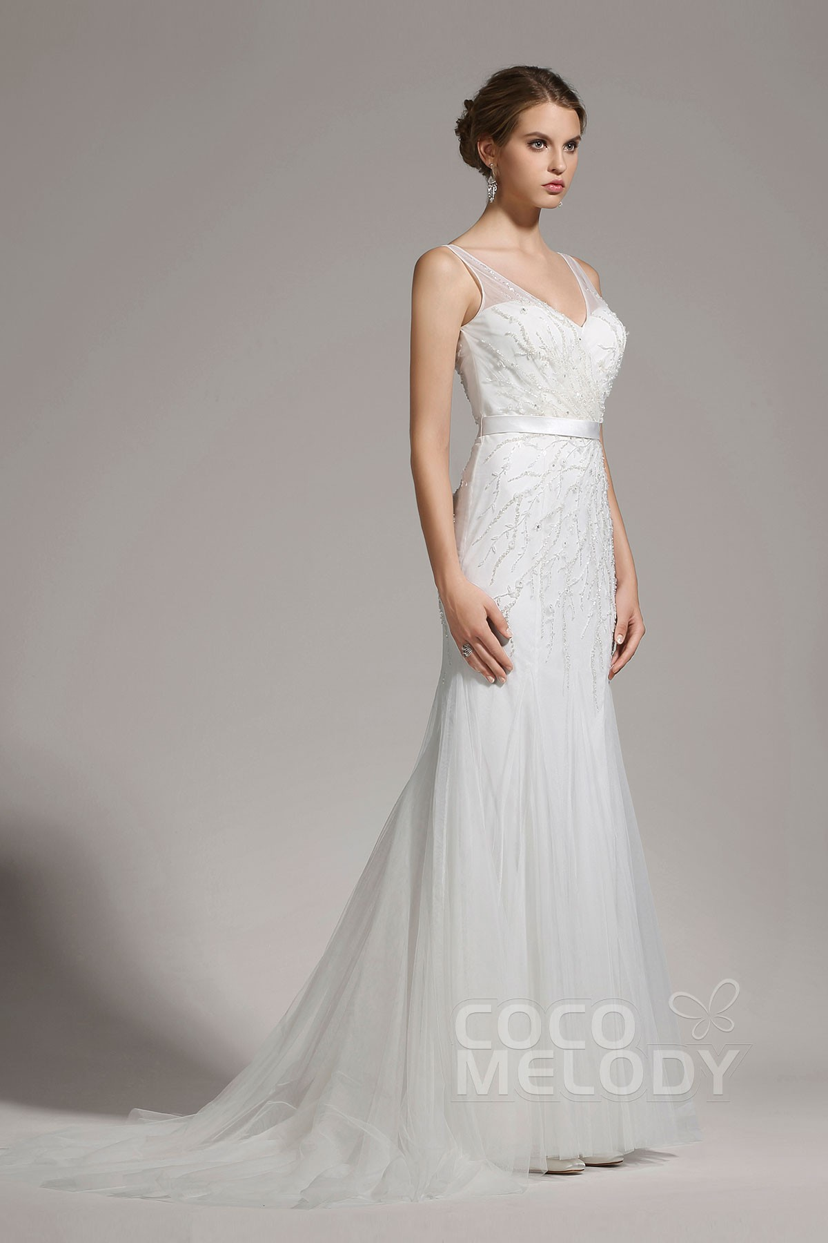 Cocomelody sheath column v neck tulle sleeveless wedding for Sheath wedding dress with beading and side drape