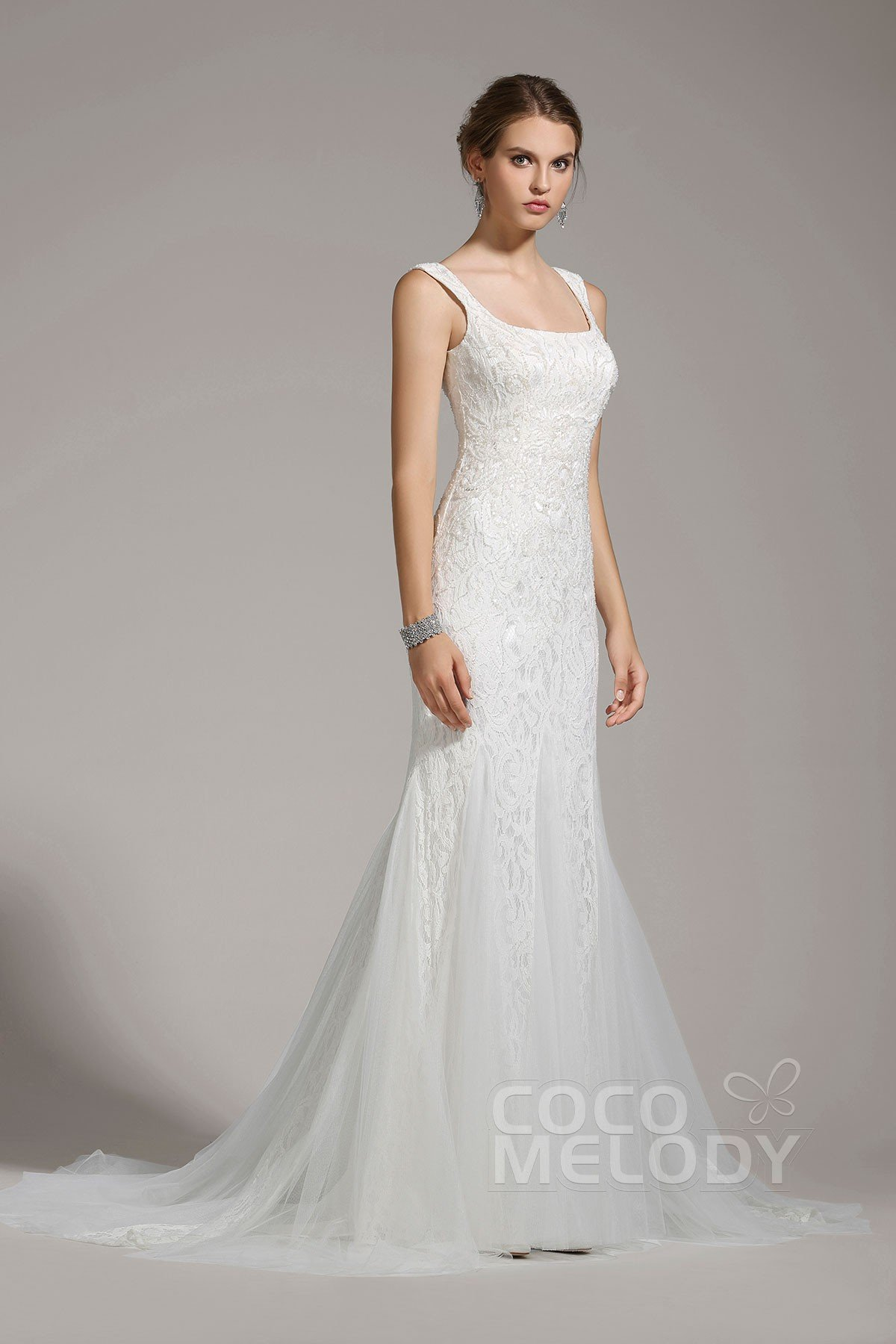 Trumpet-Mermaid Square Tulle Wedding Dress Beading Sequin AWZT15005 ...