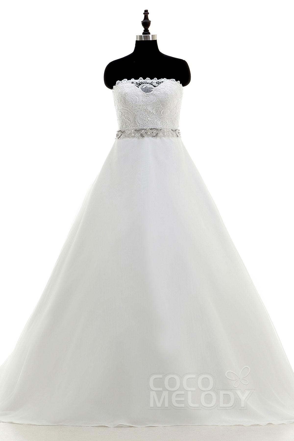 Image For New Style A-Line Strapless Court Train Satin Ivory Sleeveless Key Hole Wedding Dress Beading
