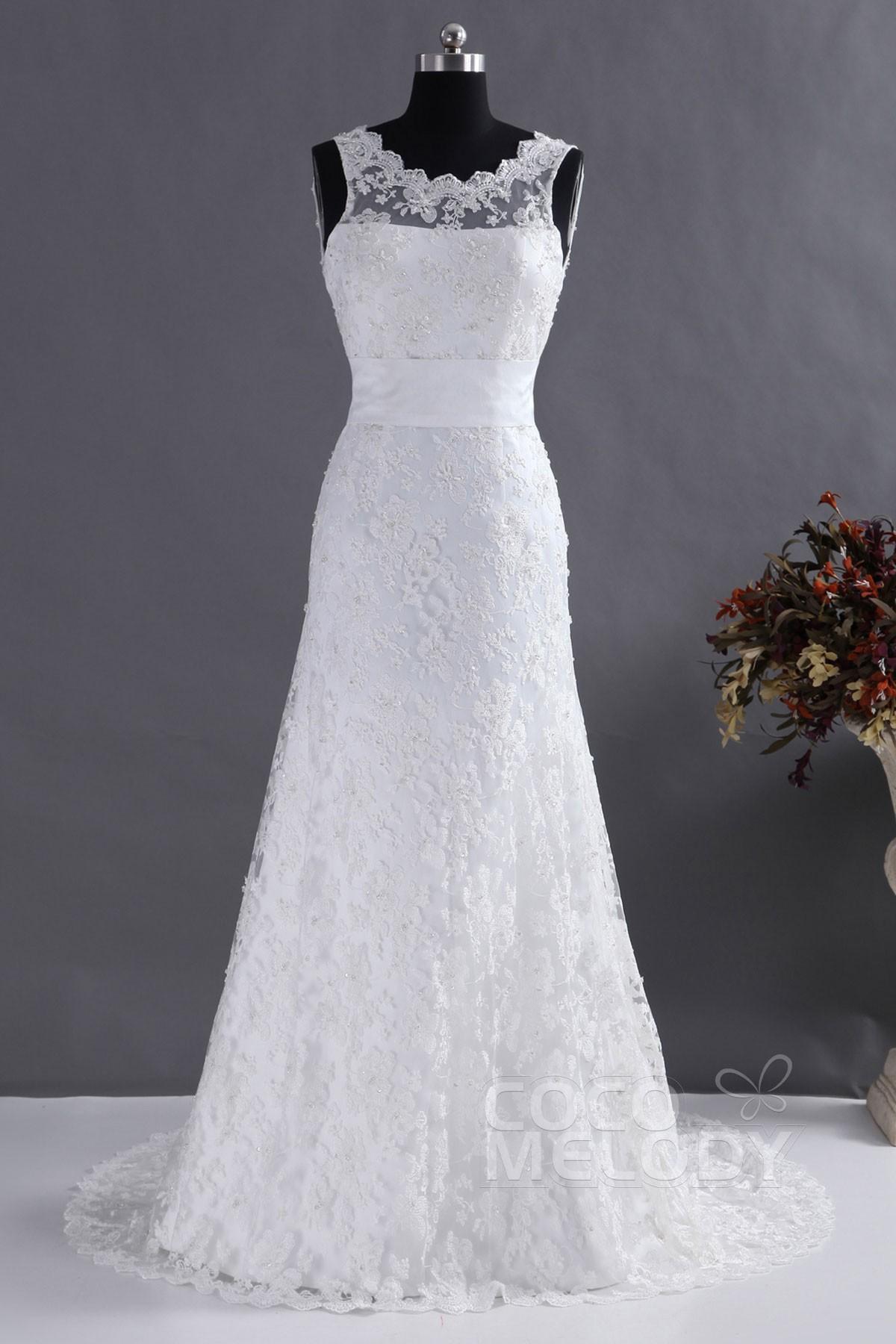 Cocomelody: Sheath-Column Illusion Court Train Lace Wedding Dress ...