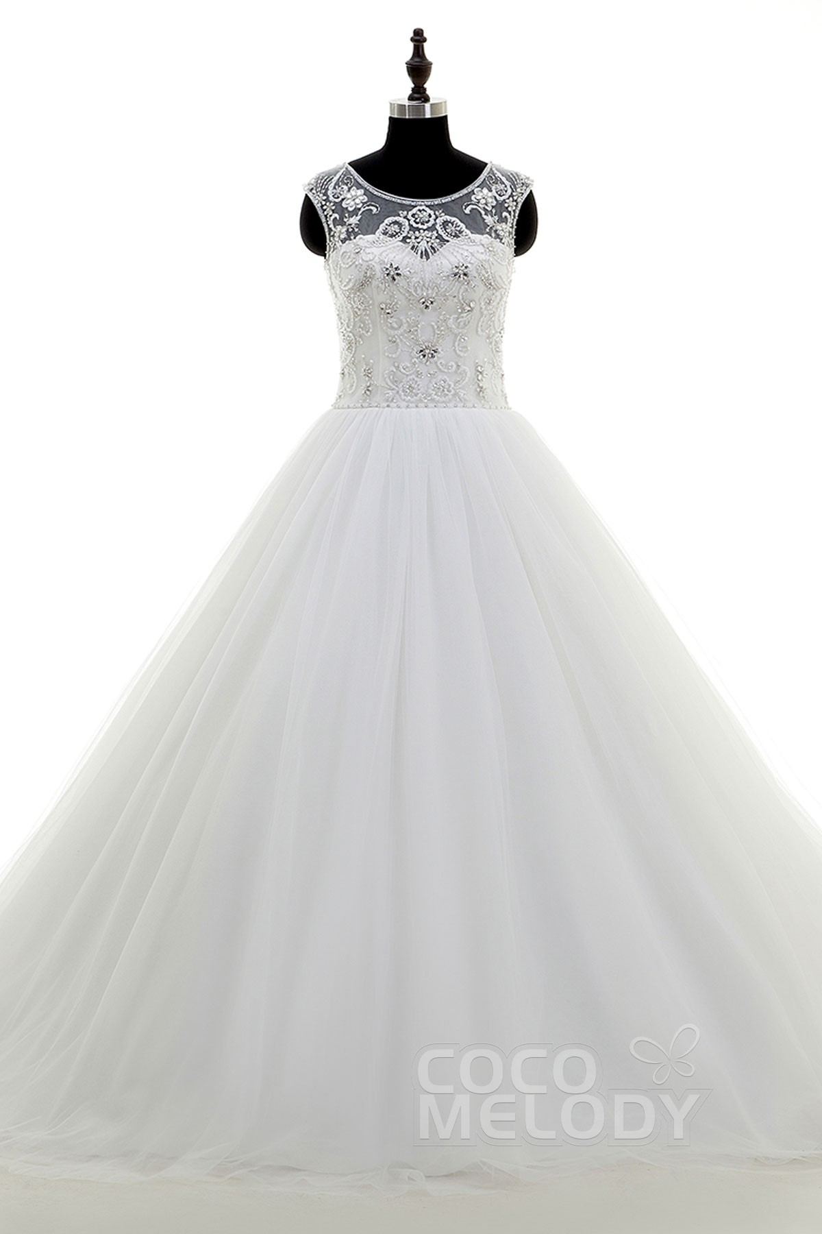 Image For Unique A-Line Illusion Chapel Train Tulle Ivory Sleeveless Zipper with Button Wedding Dress Beading
