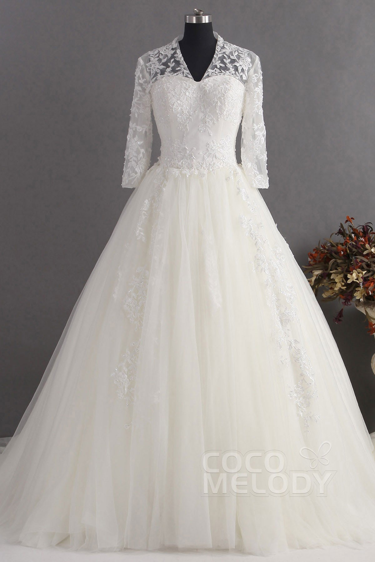 Romantic A-Line V-Neck Natural Train Tulle Ivory Sleeve Zipper Wedding Dress with Appliques CWZT14013