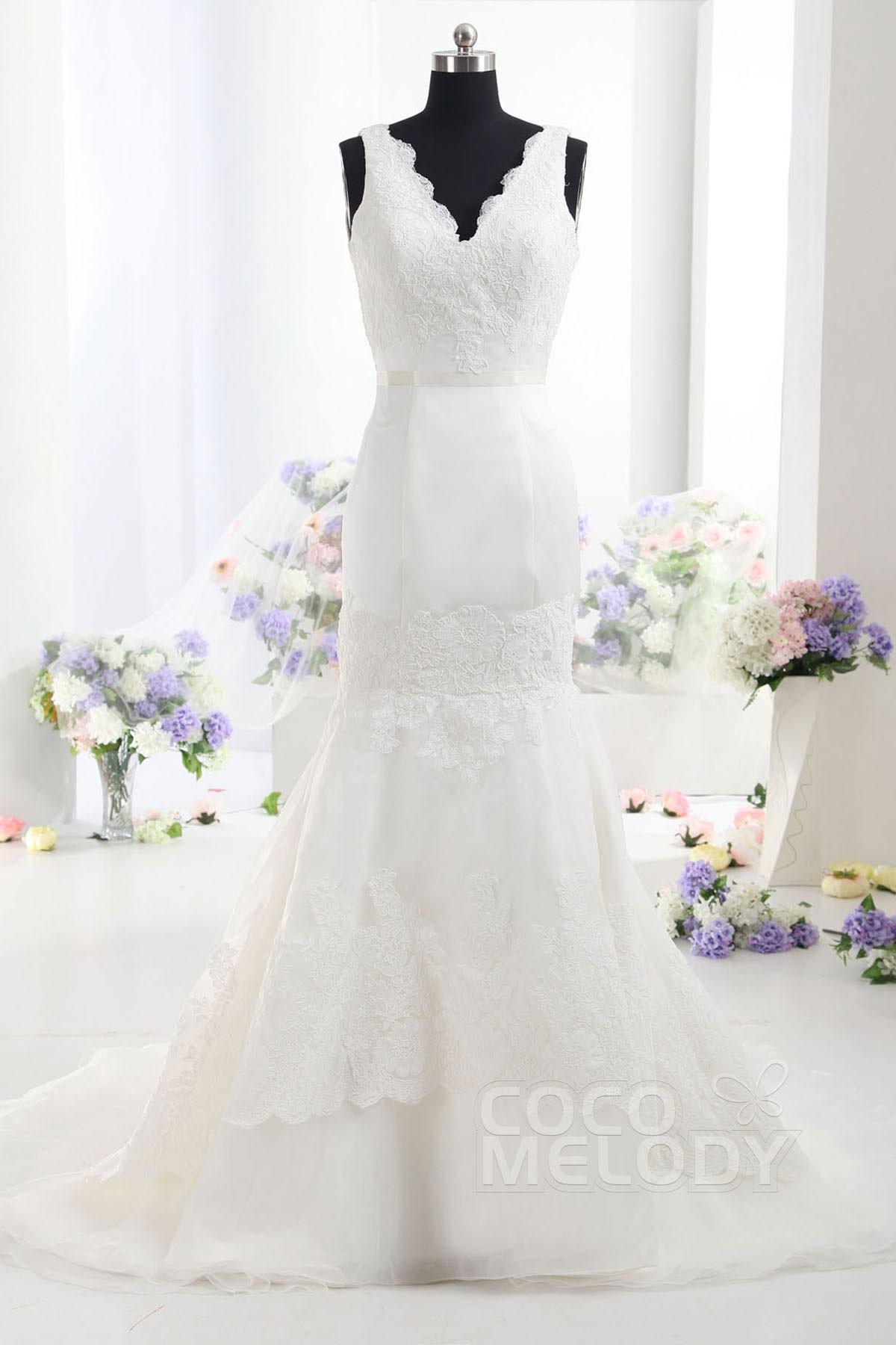 Modern V Neck Wedding Dress : Modern trumpet mermaid v neck train satin ivory sleeveless