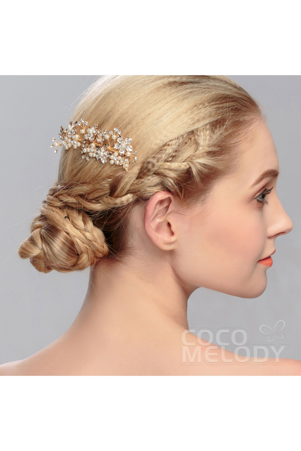 Gorgeous Gold Alloy Wedding Headpiece with Crystal and Imitation Pearl HS-J2663