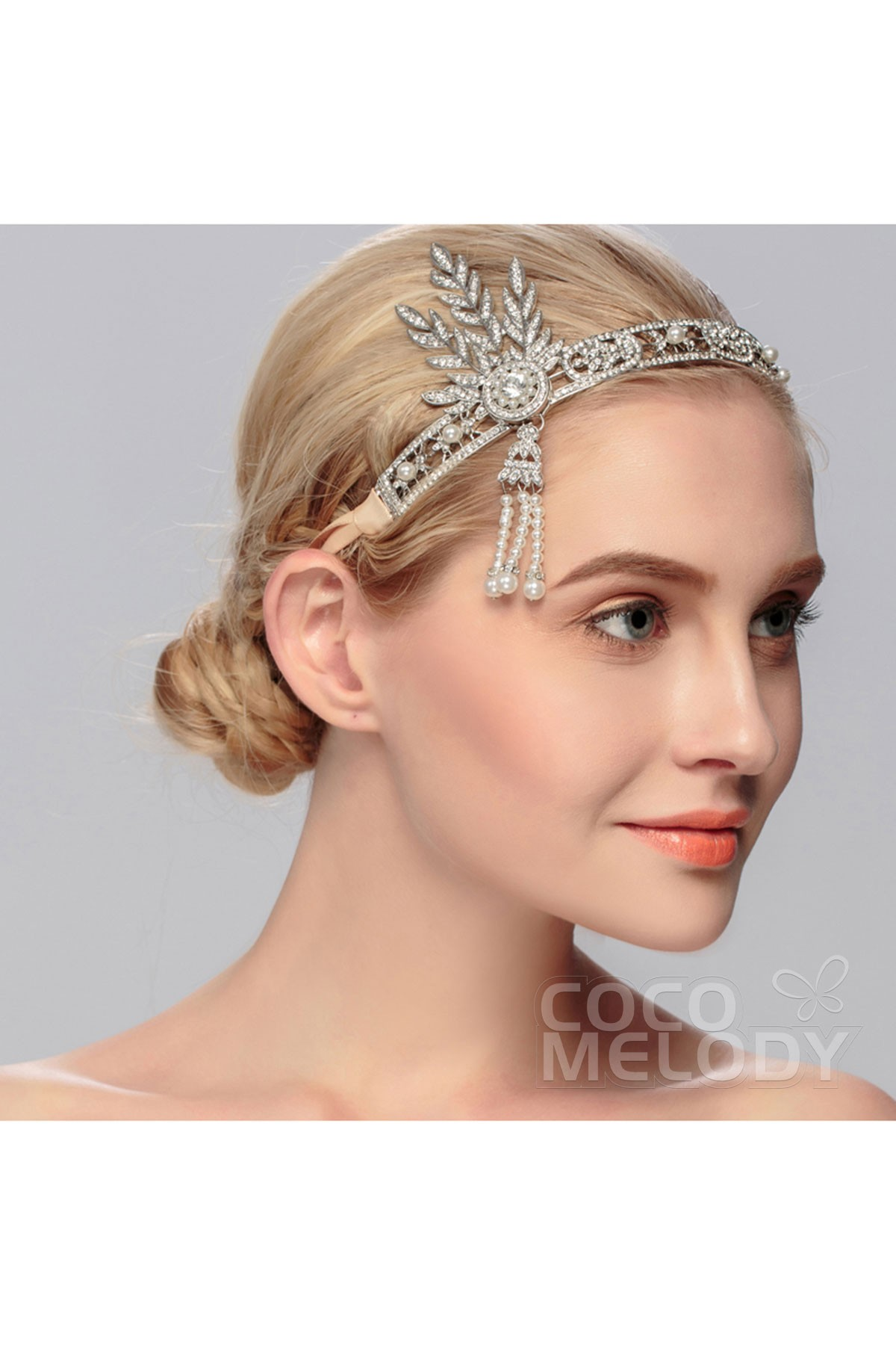 Impressive Silver Cloud Alloy Wedding Headpiece with Crystal and Imitation Pearl HS-J2762