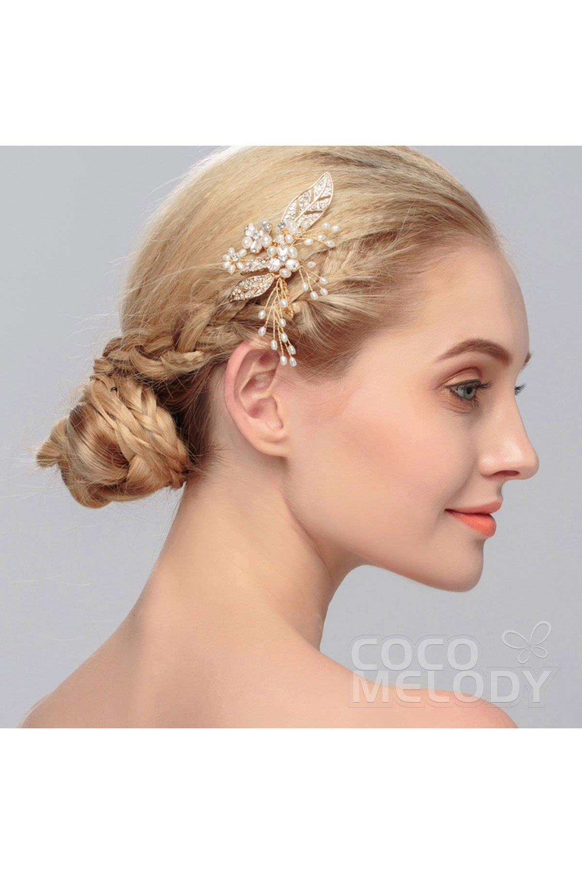 Trendy bridal headpiece - Trendy Gold Alloy Wedding Headpiece With Crystal And Imitation Pearl Hs J2937