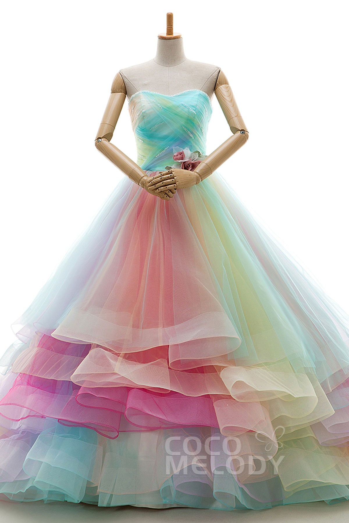 Cocomelody A Line Court Train Tulle Sleeveless Wedding