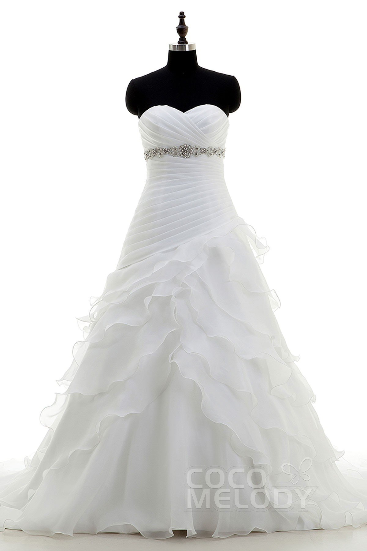 Image For A-Line Sweetheart Empire Court Train Organza Ivory Sleeveless Lace Up-Corset Wedding Dress Beading Pleating