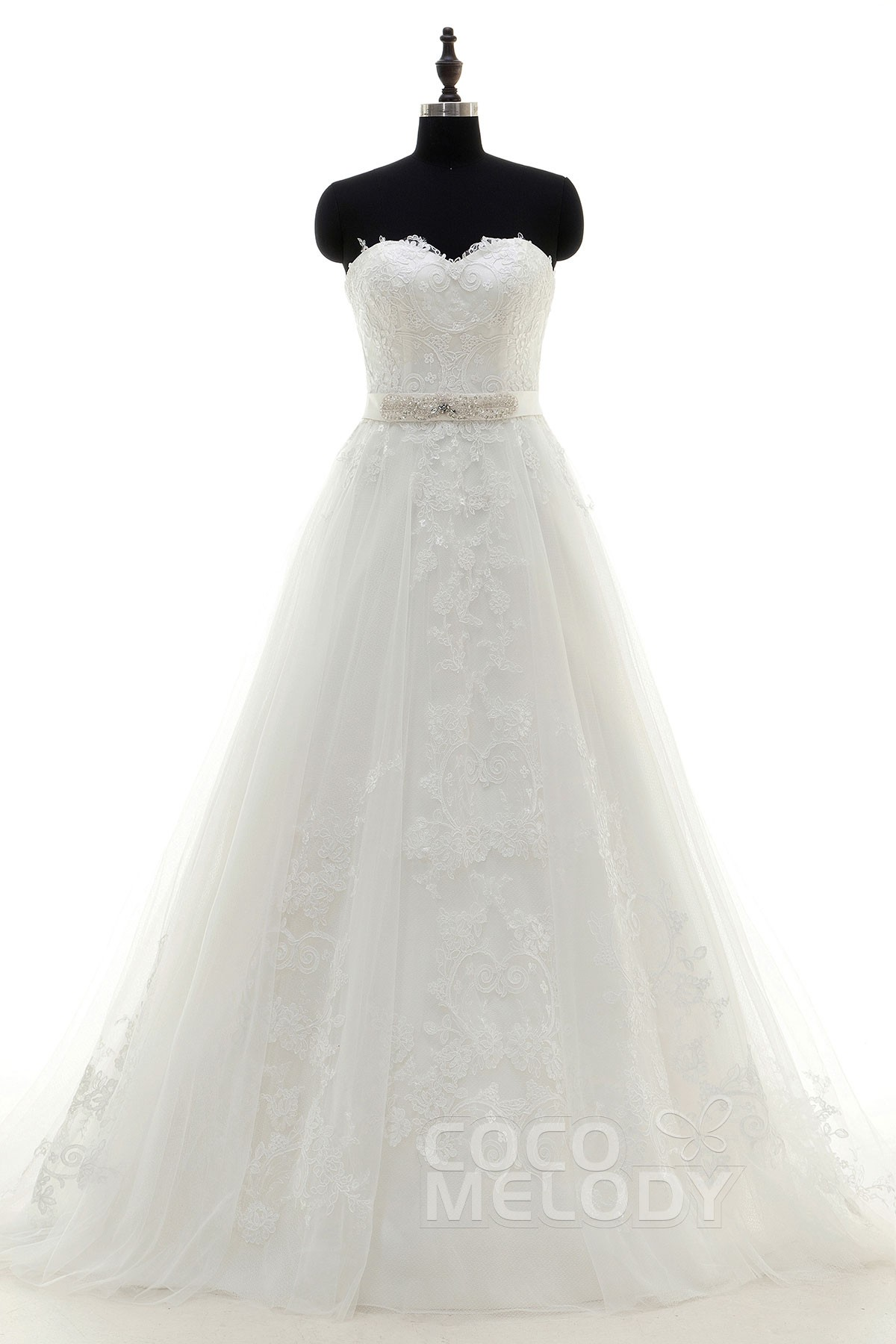 Sweet A-Line Sweetheart Train Tulle Ivory Zipper With Button Wedding Dress with Appliques and Ribbons