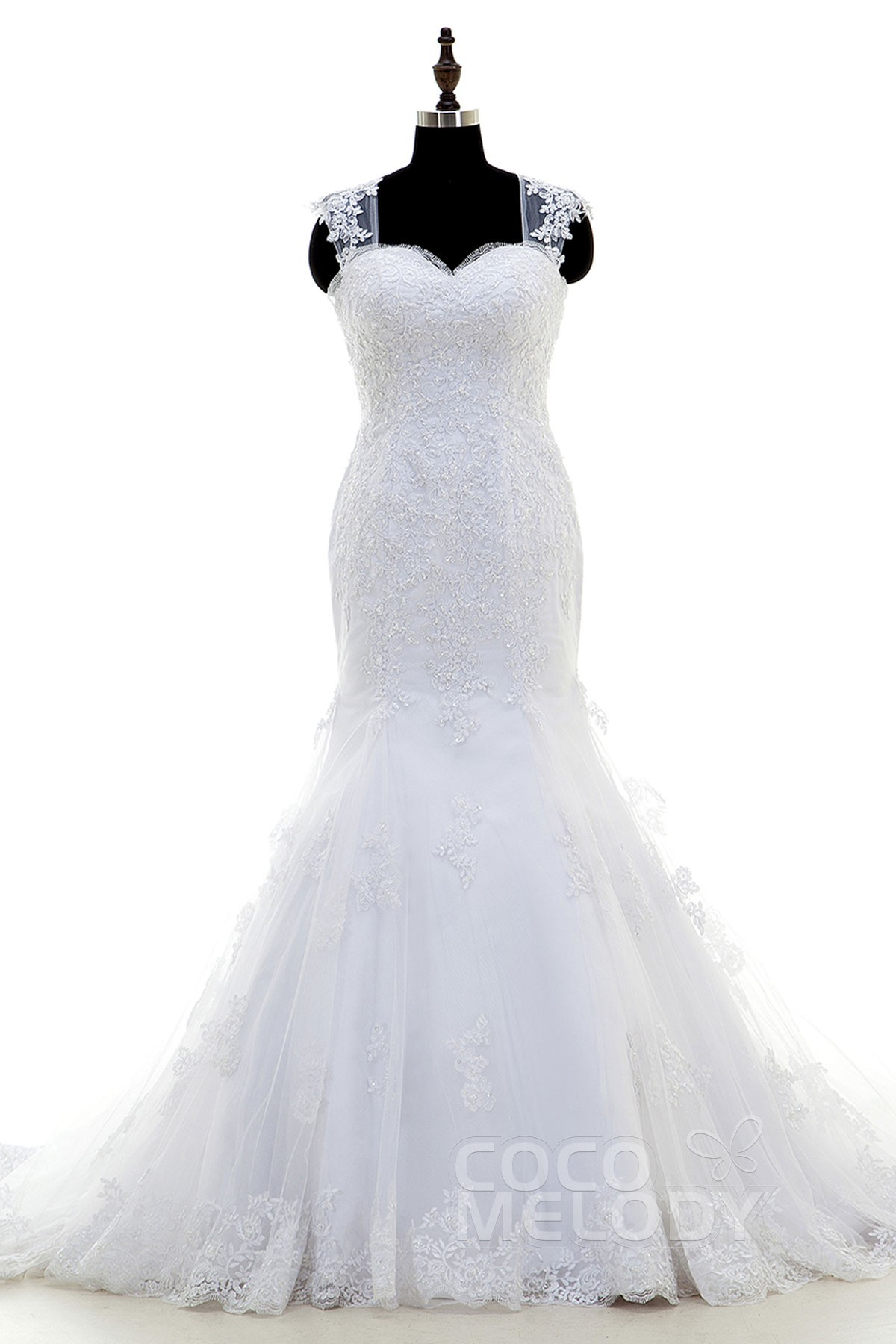 Trumpet-Mermaid Straps Dropped Court Train Tulle White Sleeveless Zipper with Button Wedding Dress Beading Appliques