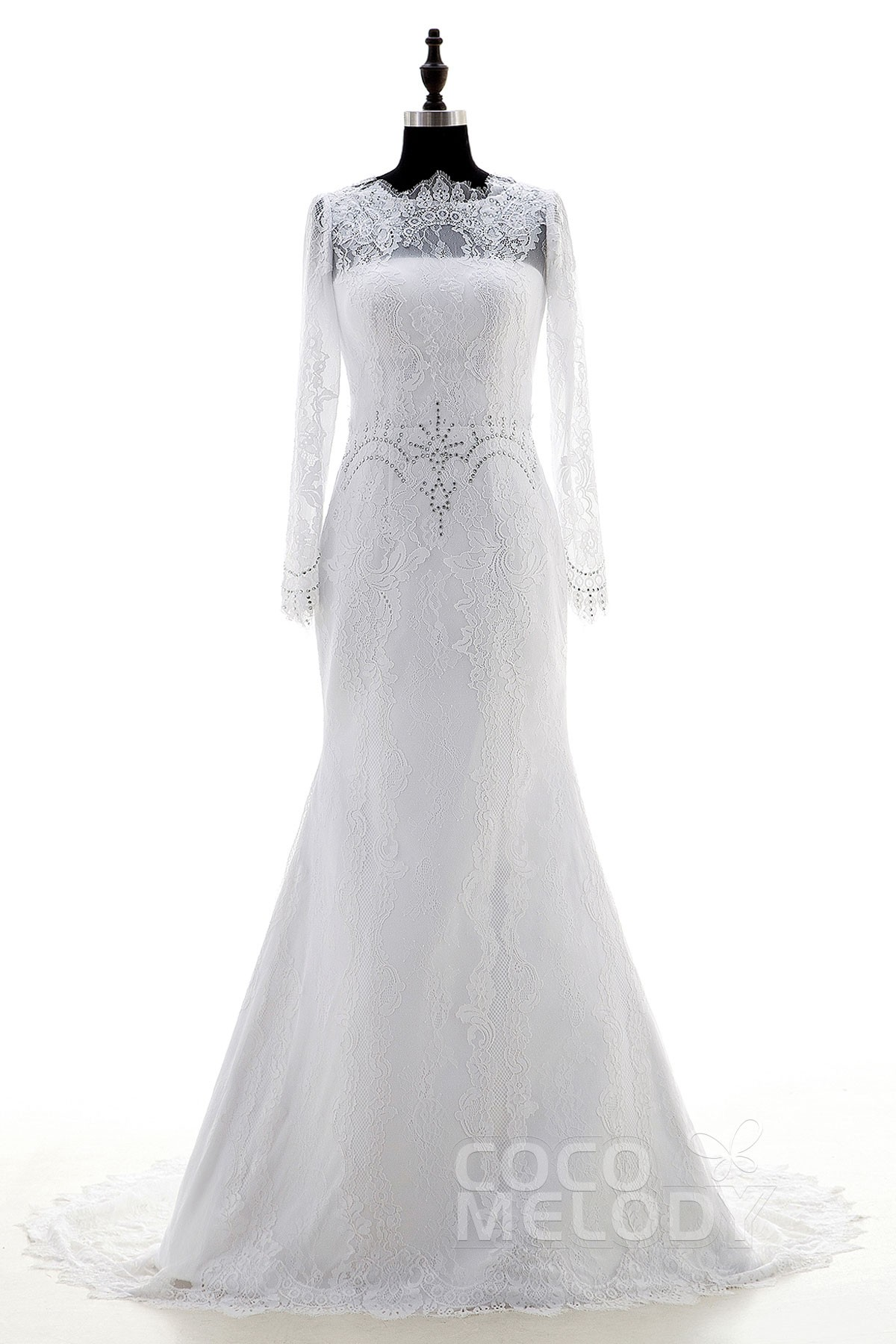 Vintage Sheath-Column Illusion Court Train Lace White Long Sleeve Zipper With Buttons Wedding Dress Crystals LD3876